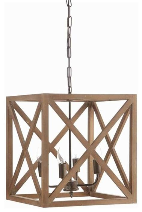 wood chandelier cube metal and wood 4 bulb chandelier Farmhouse
