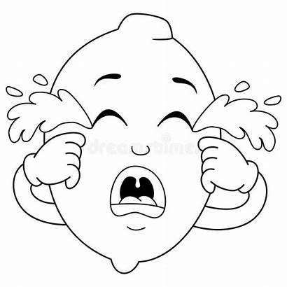 Sad Crying Coloring Lemon Cartoon Character