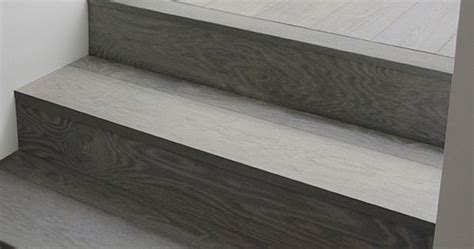 gray wood stairs  turn  corner stain color