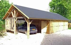 Carport Avec Abri : grand garage en bois avec abri en ossature bois ~ Melissatoandfro.com Idées de Décoration