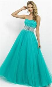 bright blue strapless ballgown dress with a sparkly silver