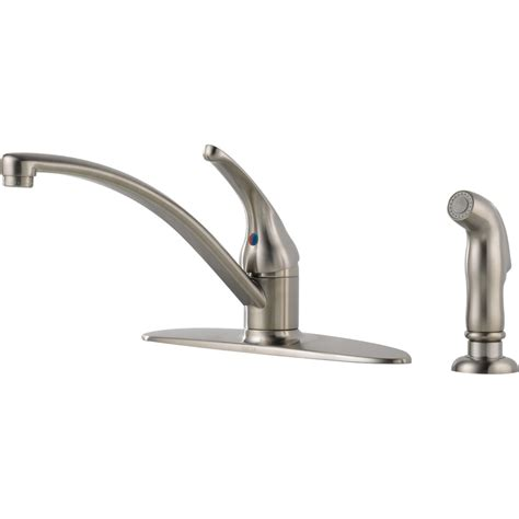 kitchen faucets at lowes shop delta foundations stainless 1 handle deck mount low