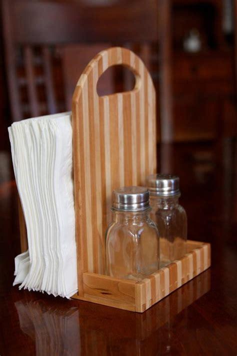 wooden napkin holder  salt  pepper caddy