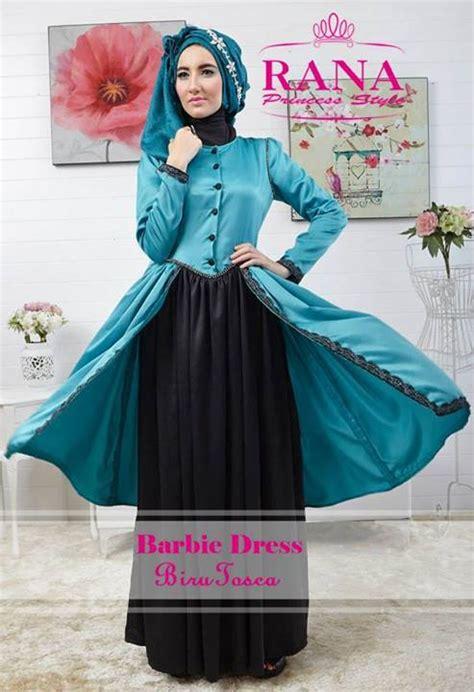 barbie dress biru tosca baju muslim gamis modern