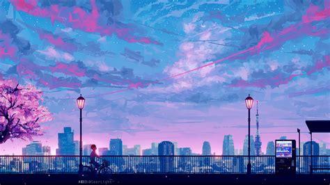 anime cityscape landscape scenery