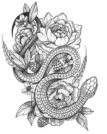 Detailed Black Ink Detailed Tattoo Snake In Floral