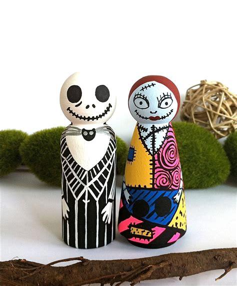 jack sally handpainted wooden peg dolls  nightmare