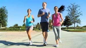 Three Fit Young People Keeping Fit Jogging Together Stock ...