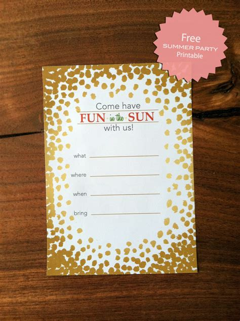 Another Free Summer Party Invitation Printable Free