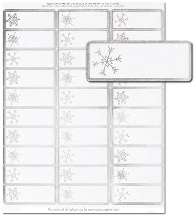 silver snowflakes address labels holiday address labels