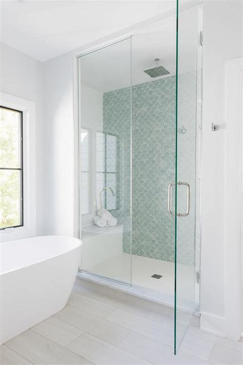 green fish scale shower wall tiles transitional bathroom