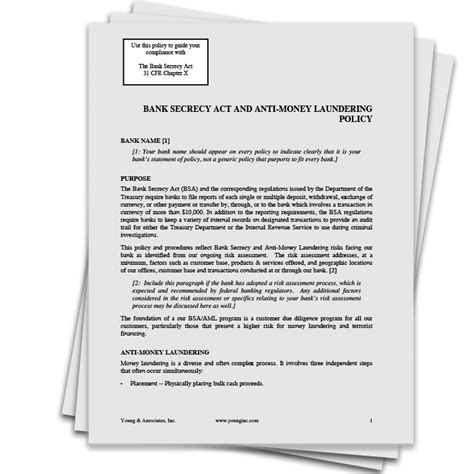 Anti Money Laundering Compliance Program Policies And Bank Secrecy And Anti Money Laundering Policy