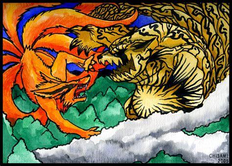anime monster bagus shukaku vs kyuubi fight by chisame etsu on deviantart