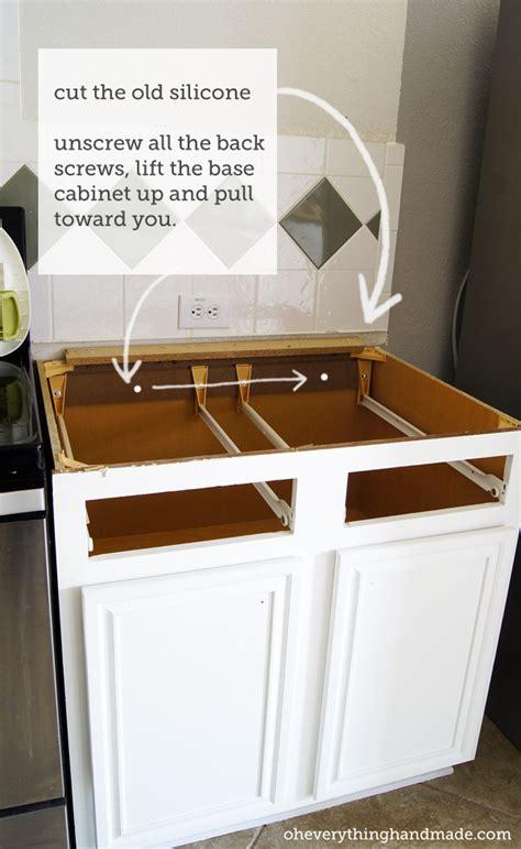 kitchen removing base cabinet countertops backsplash