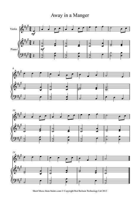 away in a manger sheet music for violin free violin