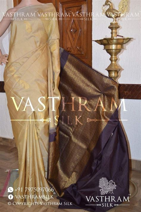 We donot have stores or shop and directly deal with weavers/vendors online. Beige Colour Kanchivaram Silk Saree With Contrast Coffee Brown Rich Pallu. Code : D1218KA812606 ...