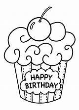 Coloring Birthday Pages Happy Printable Cake Cupcake sketch template
