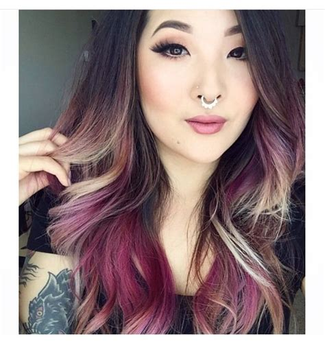 Brown Purple Blonde Dyed Blond Hair Color Dip Dyed Ombre