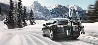 Tesla Winter Elektrische Battery Range Een Ski