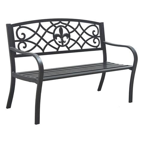 shop garden treasures 23 75 in l steel iron patio bench at