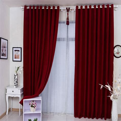 plain red curtains are generous and elegant