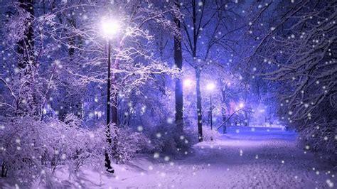oboi zimnyaya pora sneg zima fonari vecher dorozhka