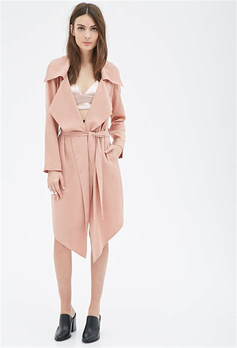 Forever 21 Open-front Duster Coat in Pink | Lyst
