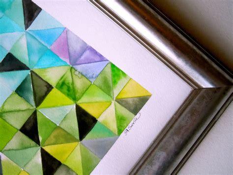 Limezinnias Design Watercolor Geometric Art