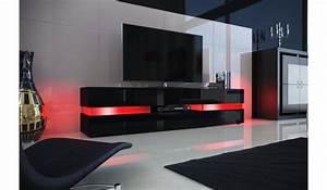 Meuble Tv Noir : meuble tv design noir laqu clairage led pour salon ~ Teatrodelosmanantiales.com Idées de Décoration