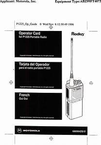 Motorola Solutions 99ft4073 P1225 Uhf Portable Radio User