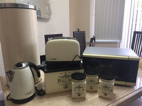 cream  black kitchen accessories microwave toaster