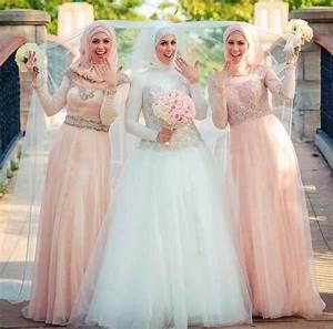 2015 elegant muslim hijab wedding dresses with long sleeve With muslim wedding bridesmaid dresses