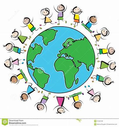 Clipart Multinational Planet Earth Around Circle Draw