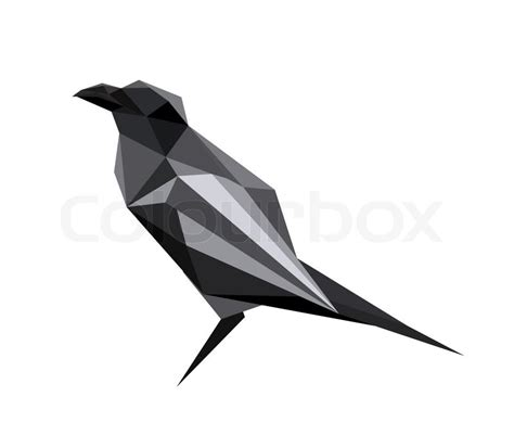 illustration  abstract origami raven stock vector