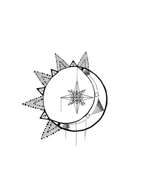Tattoo sun stars astronomy moon geometrics ideas   Moon