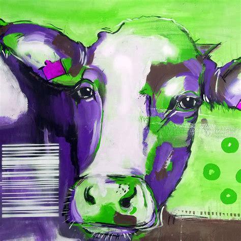 bilder pop kunstdruck auf leinwand kuh kuh in lila atelier