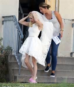 Emma Roberts spotted wearing white lace wedding dress on ...
