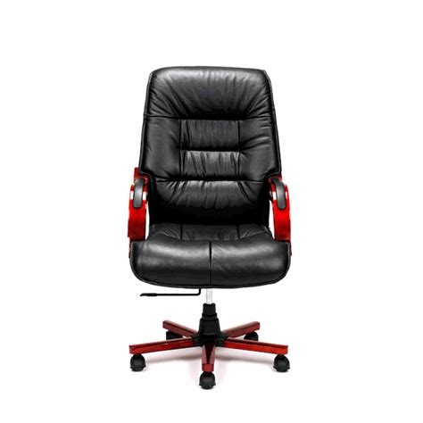 black genuine leather high back office chair