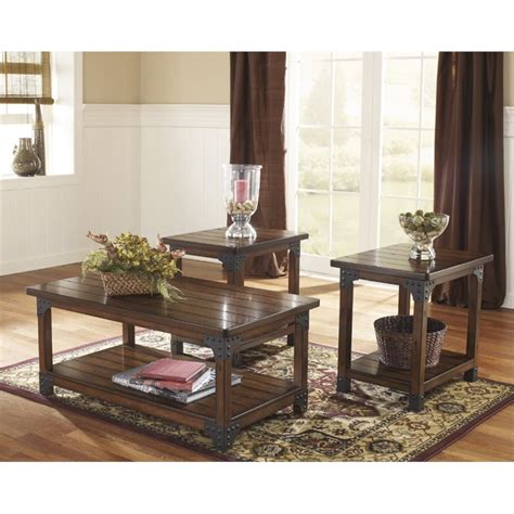three piece coffee table set ashley murphy 3 piece coffee table set in medium brown ebay