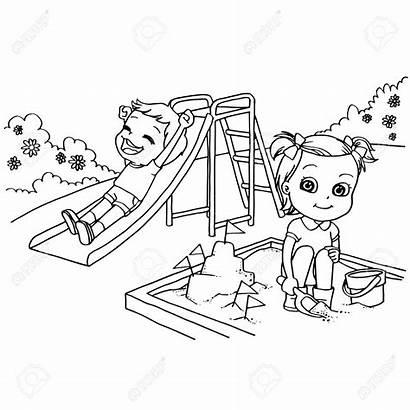 Playground Coloring Cartoon Colorare Bambini Clipart Giochi