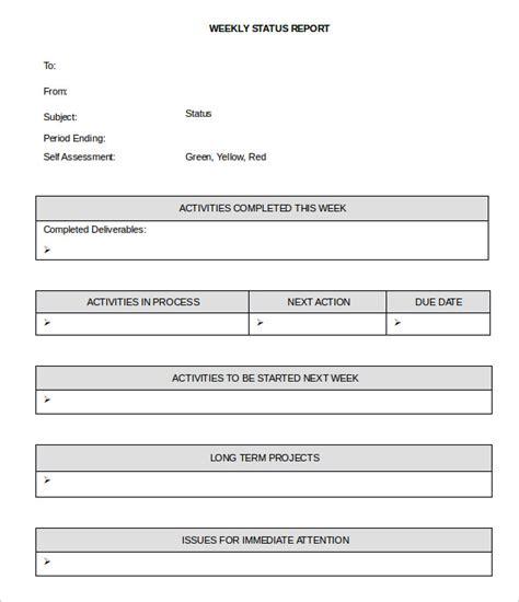 weekly status report template 33 weekly activity report templates pdf doc free premium templates