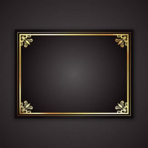 fancy wood trim decorative gold frame on a black gradient background