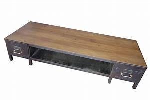 Table Basse Bois Metal Industriel : table basse meuble tv industriel atelier vintage mobilier industriel lyon ~ Teatrodelosmanantiales.com Idées de Décoration