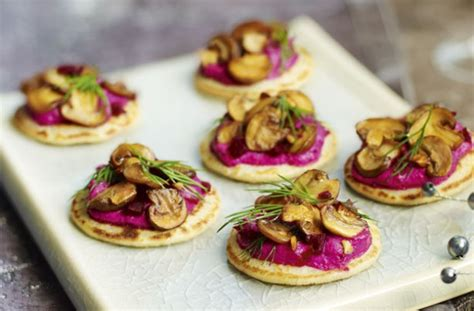 cheap easy canapes beetroot blinis with garlicky mushrooms recipe goodtoknow