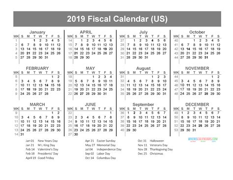 fiscal year calendar holidays january december