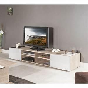 Meuble Laqué Beige : mango meuble tv 185cm coloris chene et blanc aucune ~ Premium-room.com Idées de Décoration