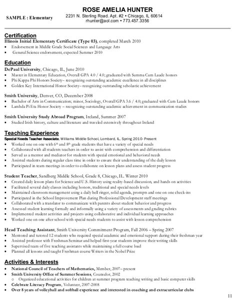 Depaul Resume Guide For Teachers by 88 Year Elementary Resume Resume