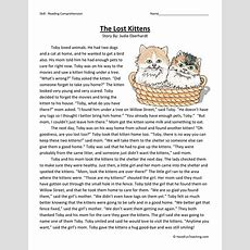 The Lost Kittens Reading Comprehension Worksheet  Have Fun Teaching
