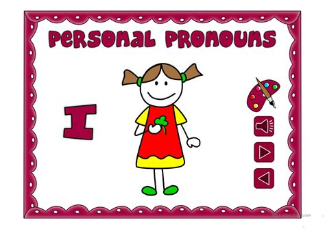 Personal Pronouns  Vocabulary *with Sound* Worksheet  Free Esl Projectable Worksheets Made By