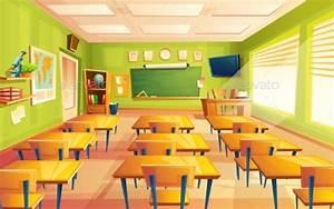 Vector Cartoon Empty School Classroom by vectorpocket ...